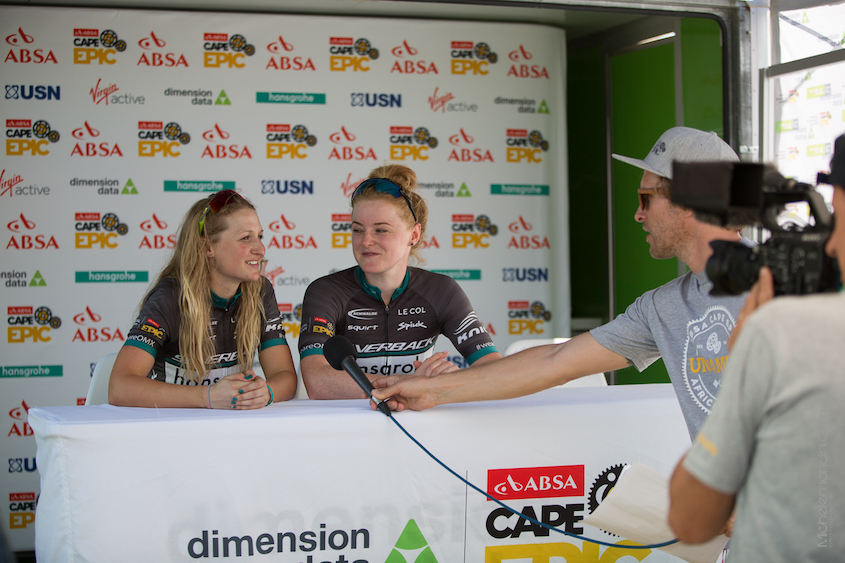 Two very happy riders, professional as ever with the press.